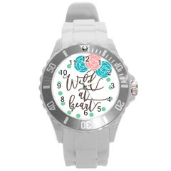Wild At Heart Flowers Round Plastic Sport Watch (L)