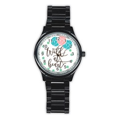 Wild At Heart Flowers Stainless Steel Round Watches