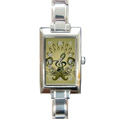 Decorative Clef With Damask In Soft Green Rectangle Italian Charm Watches