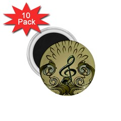 Decorative Clef With Damask In Soft Green 1.75  Magnets (10 pack)