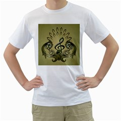 Decorative Clef With Damask In Soft Green Men s T-Shirt (White) (Two Sided)