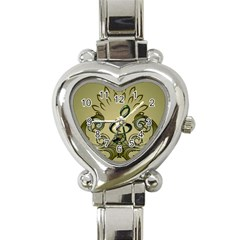 Decorative Clef With Damask In Soft Green Heart Italian Charm Watch