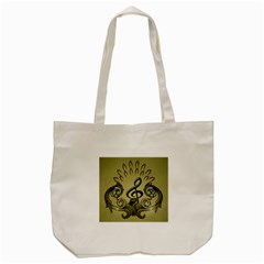 Decorative Clef With Damask In Soft Green Tote Bag (Cream)