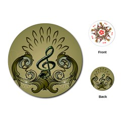 Decorative Clef With Damask In Soft Green Playing Cards (Round)