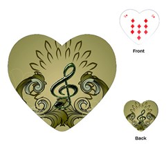 Decorative Clef With Damask In Soft Green Playing Cards (heart)