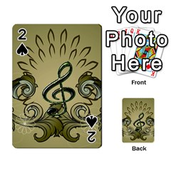 Decorative Clef With Damask In Soft Green Playing Cards 54 Designs