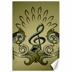 Decorative Clef With Damask In Soft Green Canvas 20  x 30