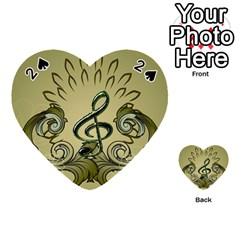 Decorative Clef With Damask In Soft Green Playing Cards 54 (Heart)