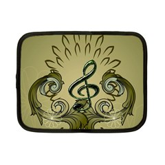 Decorative Clef With Damask In Soft Green Netbook Case (Small)