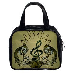 Decorative Clef With Damask In Soft Green Classic Handbags (2 Sides)