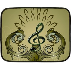 Decorative Clef With Damask In Soft Green Fleece Blanket (mini)