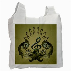Decorative Clef With Damask In Soft Green Recycle Bag (Two Side)