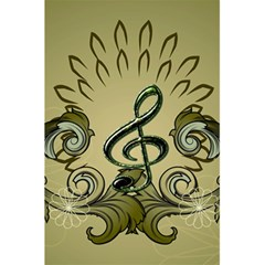 Decorative Clef With Damask In Soft Green 5 5  X 8 5  Notebooks