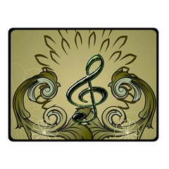 Decorative Clef With Damask In Soft Green Fleece Blanket (Small)