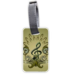 Decorative Clef With Damask In Soft Green Luggage Tags (Two Sides)