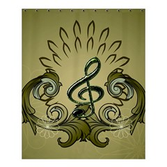 Decorative Clef With Damask In Soft Green Shower Curtain 60  x 72  (Medium)