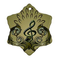 Decorative Clef With Damask In Soft Green Snowflake Ornament (2 Side)