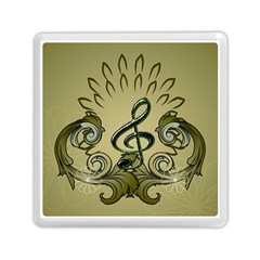 Decorative Clef With Damask In Soft Green Memory Card Reader (Square)