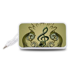 Decorative Clef With Damask In Soft Green Portable Speaker (White)
