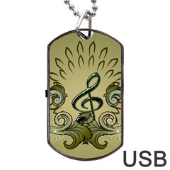 Decorative Clef With Damask In Soft Green Dog Tag USB Flash (One Side)