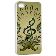 Decorative Clef With Damask In Soft Green Apple Iphone 4/4s Seamless Case (white)