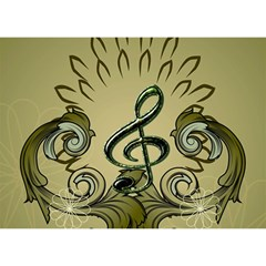 Decorative Clef With Damask In Soft Green Birthday Cake 3d Greeting Card (7x5)