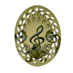 Decorative Clef With Damask In Soft Green Oval Filigree Ornament (2-Side)
