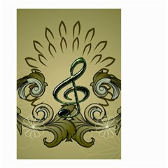 Decorative Clef With Damask In Soft Green Small Garden Flag (Two Sides)