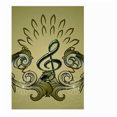 Decorative Clef With Damask In Soft Green Large Garden Flag (Two Sides)