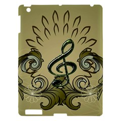Decorative Clef With Damask In Soft Green Apple iPad 3/4 Hardshell Case