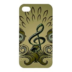 Decorative Clef With Damask In Soft Green Apple iPhone 4/4S Premium Hardshell Case