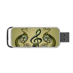 Decorative Clef With Damask In Soft Green Portable USB Flash (Two Sides)
