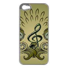 Decorative Clef With Damask In Soft Green Apple iPhone 5 Case (Silver)