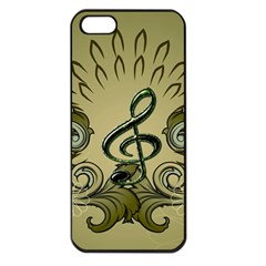 Decorative Clef With Damask In Soft Green Apple iPhone 5 Seamless Case (Black)