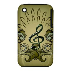 Decorative Clef With Damask In Soft Green Apple iPhone 3G/3GS Hardshell Case (PC+Silicone)