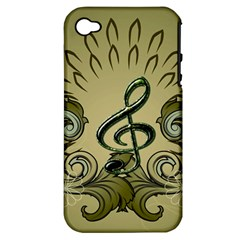 Decorative Clef With Damask In Soft Green Apple iPhone 4/4S Hardshell Case (PC+Silicone)