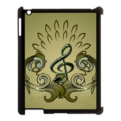Decorative Clef With Damask In Soft Green Apple iPad 3/4 Case (Black)
