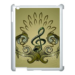 Decorative Clef With Damask In Soft Green Apple iPad 3/4 Case (White)