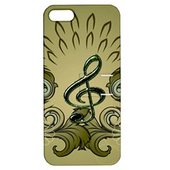 Decorative Clef With Damask In Soft Green Apple iPhone 5 Hardshell Case with Stand