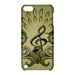 Decorative Clef With Damask In Soft Green Apple iPod Touch 5 Hardshell Case with Stand