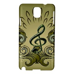 Decorative Clef With Damask In Soft Green Samsung Galaxy Note 3 N9005 Hardshell Case