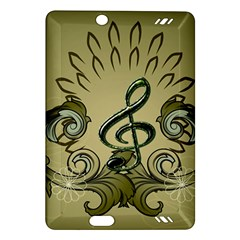 Decorative Clef With Damask In Soft Green Kindle Fire HD (2013) Hardshell Case