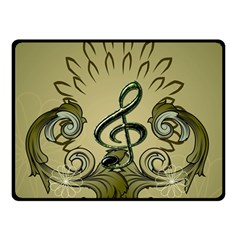 Decorative Clef With Damask In Soft Green Double Sided Fleece Blanket (Small)