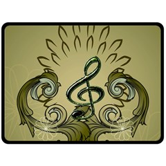Decorative Clef With Damask In Soft Green Double Sided Fleece Blanket (large)