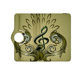 Decorative Clef With Damask In Soft Green Kindle Fire HDX 8.9  Flip 360 Case