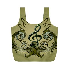 Decorative Clef With Damask In Soft Green Full Print Recycle Bags (M)