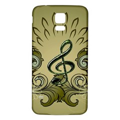Decorative Clef With Damask In Soft Green Samsung Galaxy S5 Back Case (White)