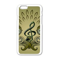 Decorative Clef With Damask In Soft Green Apple iPhone 6/6S White Enamel Case