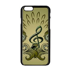 Decorative Clef With Damask In Soft Green Apple iPhone 6/6S Black Enamel Case