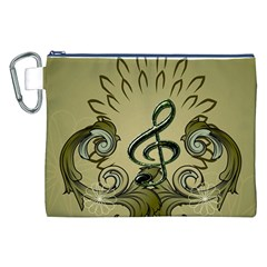 Decorative Clef With Damask In Soft Green Canvas Cosmetic Bag (XXL)